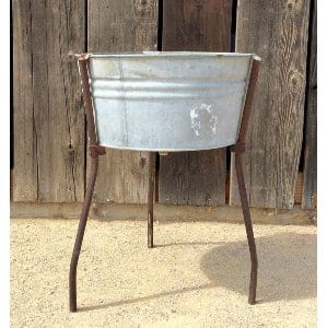 VINTAGE ROUND GALVANIZED WASH TUB