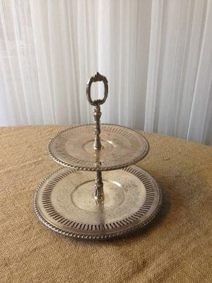 2 tier Silver Dessert Tray