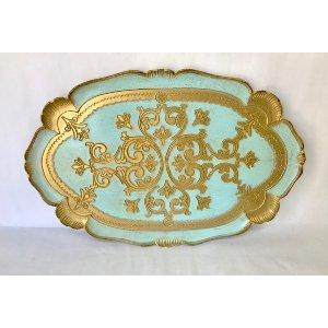 Aqua and gold florentine tray