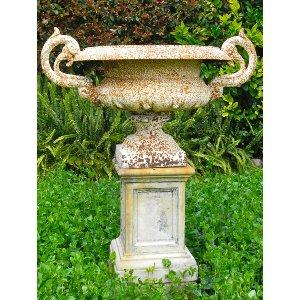 Cast iron urn with pedestal
