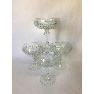 Diamond pattern small glass compotes