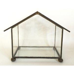 Brass trimmed glass terrarium box