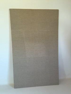 Corkboard with beige linen covering