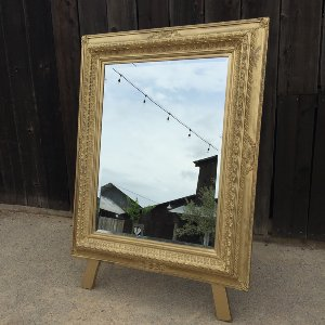 MARIETTA GOLD FRAMED MIRROR WITH EASEL