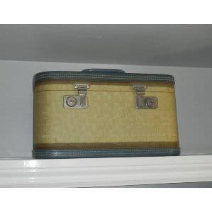 Cream and blue Train Case