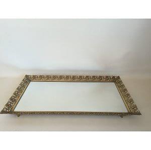 large gold filagree mirror tray 20