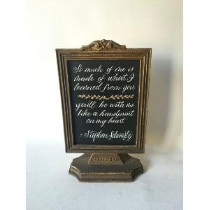 Framed quote in vintage frame