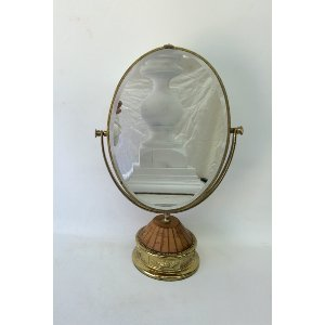 standing mirror with wood and brass