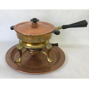Copper chafing dish with tray