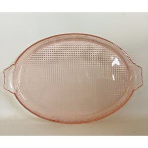 Small pink glass tray