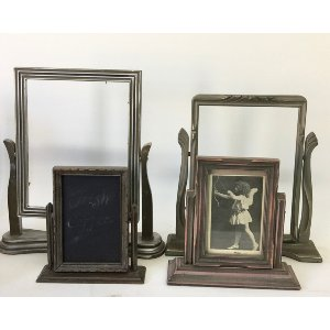Vintage silver/gray frame on stand