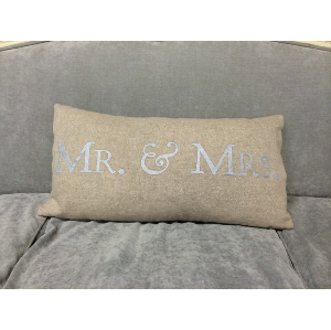Mr. & Mrs. in Silver/Burlap Pillow