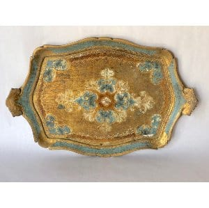 Aqua and gold tray