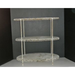 3 Tier Small Oval Metal Shelf