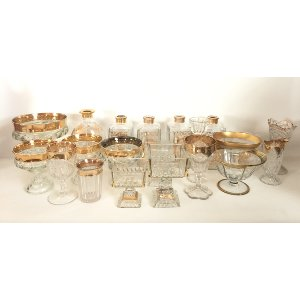 Crystal Glass Vases with gold trim
