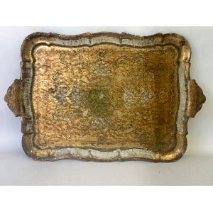 TULA WHITE AND GOLD FLORENTINE TRAY
