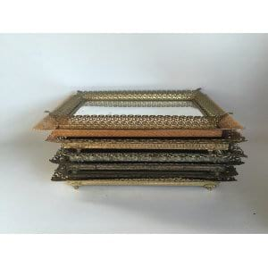 filagree gold mirrored tray 15
