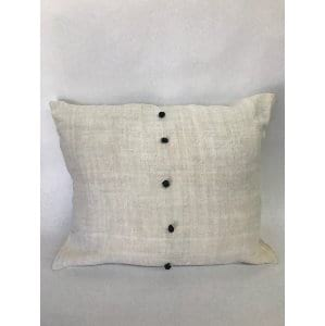 RUSTIC LINEN PILLOW WITH BLACK BUTTONS