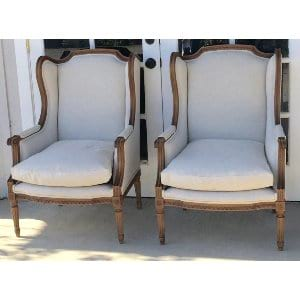 LUDMIL AND LINDA BEIGE LINEN CHAIR
