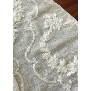 Ecru Embroidered Fabric for birch