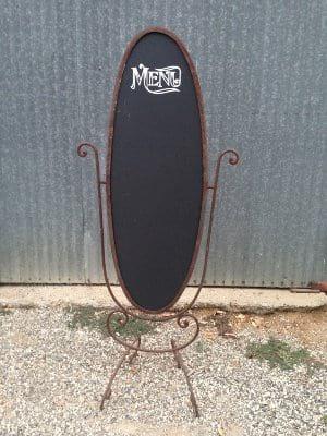 Menu Board in iron frame