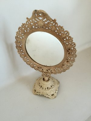 large cream painted mirror stand