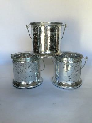 Silver Hanging Mercury Glass Vases