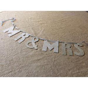 Mr. and Mrs. in Silver Glitter