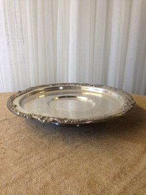 Large Silver Cake Stand/Tray on Base