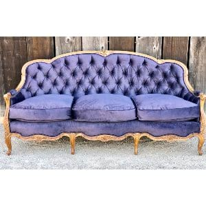 Plum velvet couch