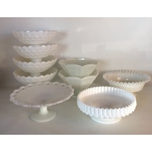 Milk glass compote large