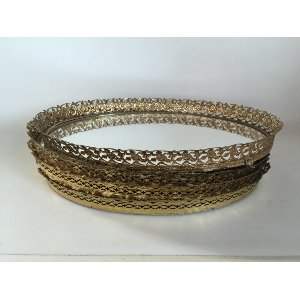 Oval Gold  Mirrored Tray