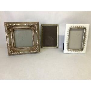 Silver and white frames