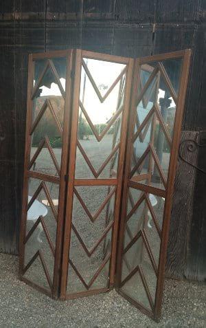 Wood Framed Mirrored Screen