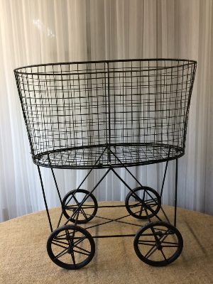 Vintage Black Basket on wheels