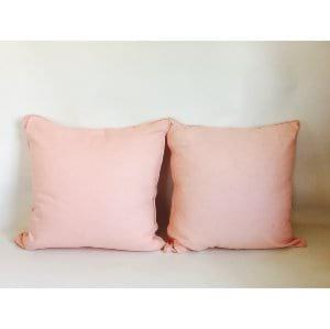 Rose pink linen pillow