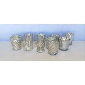 Fancy Silver Mercury Glass Votive