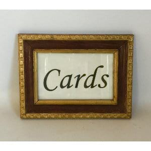 WOOD AND GOLD CARDS SIGN