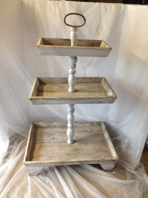 TINSLEY WHITE WOOD TIERED TRAY