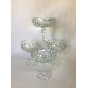 SMALL GLASS COMPOTE WITH DIAMOND PATTERN