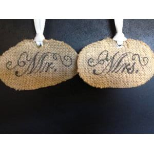Mr. and Mrs. Chair Ties in burlap