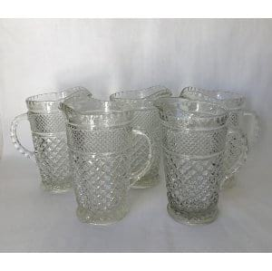 DIAMOND PATTERN GLASS WATER PITCHER