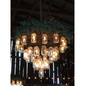 mason jar chandeliers (included with venue)
