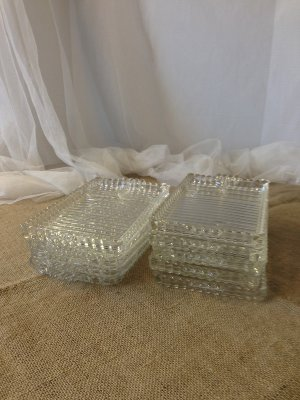 Vintage Rectangle Glass Plates