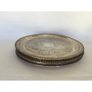 Large Round Silver Trays