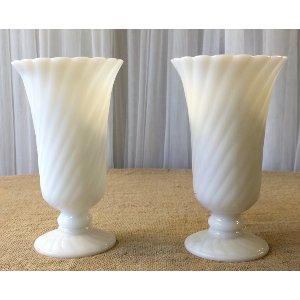 Vanessa Tall milk glass vases