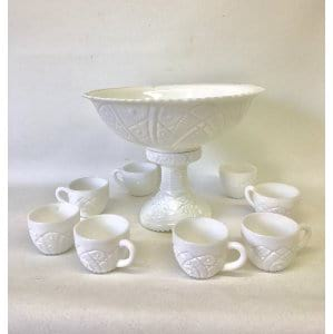 MAGGIE MILK GLASS PUNCH SET