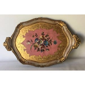 TONI PINK AND GOLD FLORENTINE TRAY