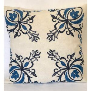 Ivory and navy pillow