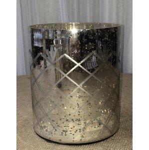 Diamond pattern mercury glass vase